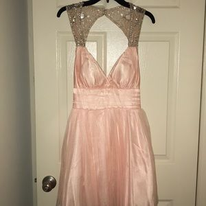 Juniors peach colored formal dress with beadwork